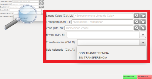 filtrar transferencias
